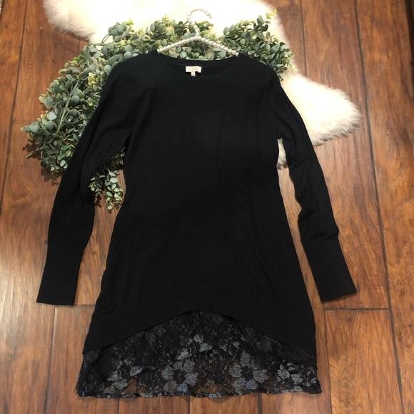 LOGO by Lori Goldstein black with lace tun…